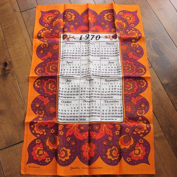 Vintage Linen 1970 Calendar Kitchen Tea Towel NWOT